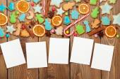 Christmas wooden background with photo frames — Zdjęcie stockowe