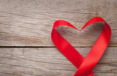Valentines day heart shaped ribbon — Stock Photo