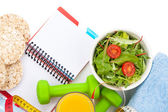 Healthy food and notepad for copy space — Foto de Stock