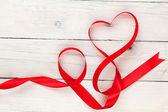 Valentines day heart shaped ribbon — Stockfoto