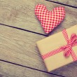 Valentines day toy heart and gift box — Stock Photo #62689399