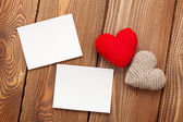 Photo frames and valentines toy hearts — Stock Photo