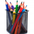 Various colour pencils in holder — Stock Photo #63313199