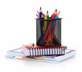 Colorful pencils and notepads — Stock Photo