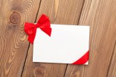 Valentines day greeting card with red ribbon — Stock Photo