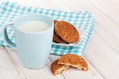 Cup of milk and gingerbread cookies — Stock Photo