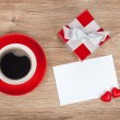 Blank valentines greeting card, gift box and red coffee cup — Fotografia Stock  #64036959