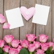 Pink roses, handmaded toy heart — Stockfoto #64037433