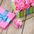 Valentines day gift box full of pink roses — Stock Photo #64037585