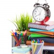 School supplies and alarm clock — Stock Photo #64597389