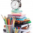 Office supplies and alarm clock — Stock Photo #64597503