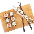 Постер, плакат: Sushi maki set with salmon and cucumber
