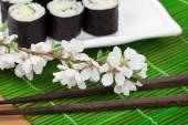 Sushi maki set and sakura branch — Stock Photo
