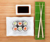 Sushi set, chopsticks and soy sauce — Stock Photo