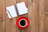 Office desk table with   coffee — Stock Photo