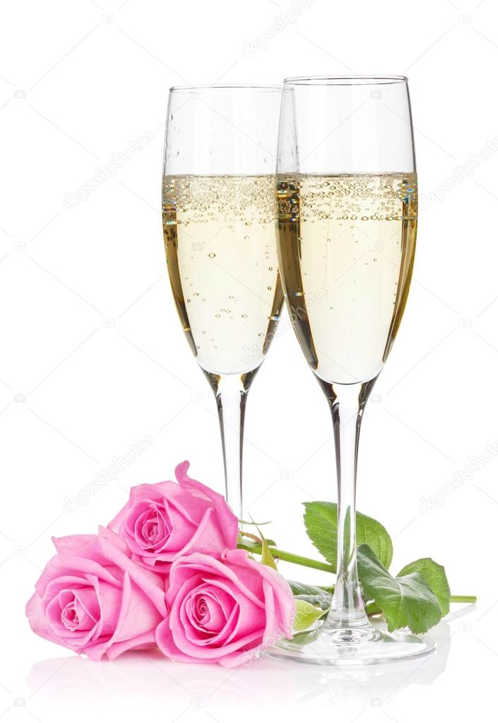champagne glasses and pink roses stock photo karandaev. Black Bedroom Furniture Sets. Home Design Ideas