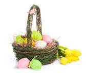 Easter eggs  and yellow tulips — Стоковое фото
