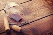 Wine glass, cork and corkscrew — Stock Photo