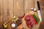 Raw fillet beef steak and spices — Stock Photo