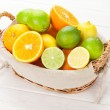 Citrus fruits. Oranges, limes and lemons — Stock Photo #68252823