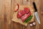 Raw fillet beef steak and spices — Photo
