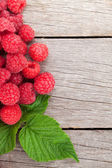 Ripe raspberries on wooden table — Stock Photo