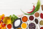 Various spices on wooden background — Stock Photo
