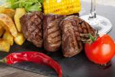 Steak with grilled potato — Foto de Stock