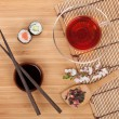 Постер, плакат: Sushi maki set and tea