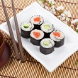 Постер, плакат: Sushi maki set and green tea