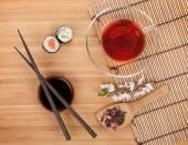 Sushi maki set, and tea — Stock Photo