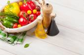 Fresh vegetables and condiments — Stock Photo