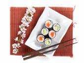 Sushi maki set with salmon and cucumber — Stock Photo