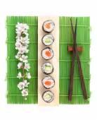 Sushi maki set with salmon — Stock Photo