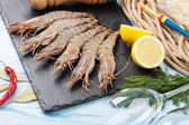 Fresh raw tiger prawns — Stock Photo