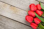 Fresh red tulips bouquet — Stock Photo