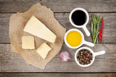 Parmesan cheese, herbs and spices — Stock Photo