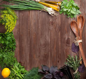 Fresh garden herbs and condiments — Stock Photo