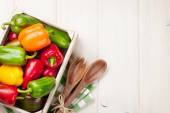 Fresh colorful bell pepper box — Stock Photo