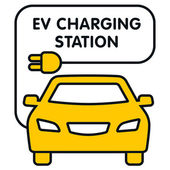 EV Charging Station signboard with the yellow car — Stock Vector