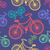 Retro hipster styled different colored bycicles — Stock Vector