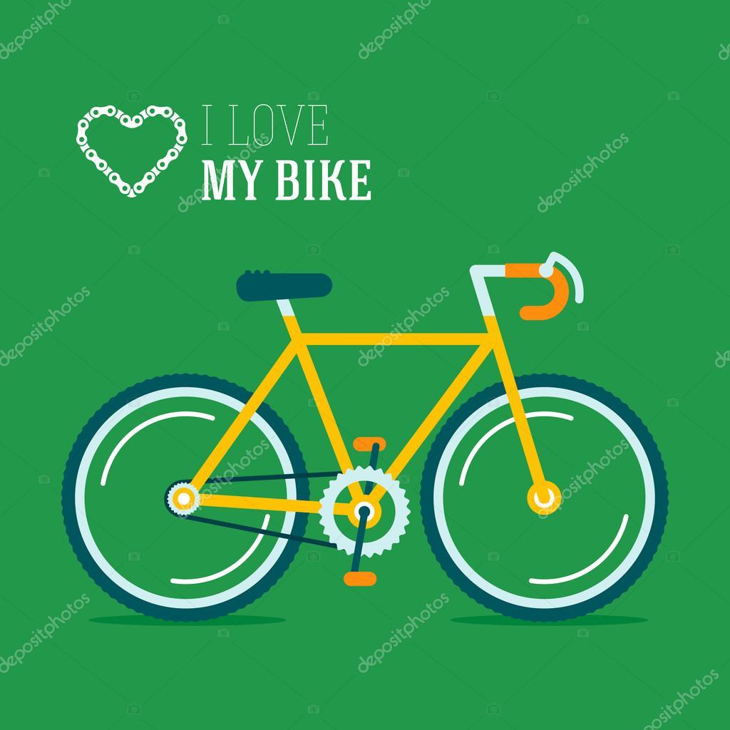 自行车矢量插画的绿色背景