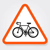 Bicycle triangle forbidden sign plate. — Stock Vector