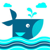 Mignon baleines nager dans la mer — Vecteur