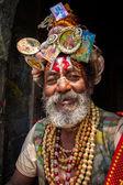 Sadhu no templo pashupatinath — Foto Stock