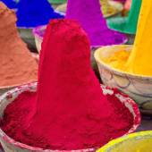 Colorful piles of powdered dyes — 图库照片