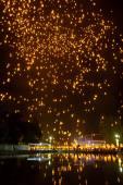 Lanterns in dark sky — Stock Photo