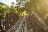 Bridge over river Kwai in Kanchanaburi — Stock Photo