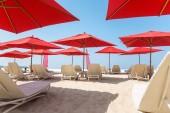 Beach chairs and umbrellas — Stock Photo