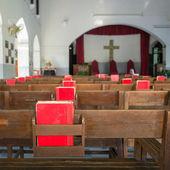 Inside a catholic church — Stok fotoğraf